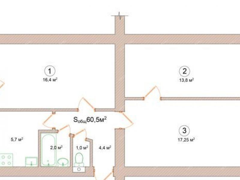 трёхкомнатная квартира на улице Инженерная дом 4 город Чкаловск